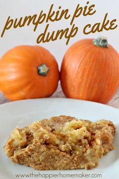 Pumpkin Pie Dump Cake This tastes AMAZING!! Perfect fall dessert recipe!