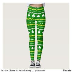 Fair Isle Clover St. Patrick's Day Leggings MouseFxArt.Com (Mousefx Art Zazzle Store)