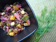 Red Quinoa, Roasted Beet and Pink Grapefruit Salad Grapefruit Salad, Pink Grapefruit, Beet Recipes, Real Food Recipes, Roasted Beets Recipe, Red Quinoa Salad, Balsamic Reduction, Food For A Crowd, Dinner Recipes