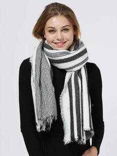 Vertical Stripe Fringed Shawl Scarf WHITE AND BLACK: Scarves | ZAFUL