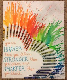 Custom Heart Shaped Crayon Art on Canvas With or Without Quote. $35.00, via Etsy.