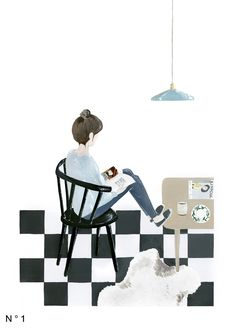 The Reader from Saar Manche on atelierdupetitparc. Illustration Inspiration, Cute Illustration, Graphic Design Illustration, Fabric Photography, House Drawing, Doodle Designs, Dutch Artists, Sketch Design, Illustrations And Posters
