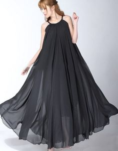 Black Summer Sundress Boho Long Maxi Dress Summer by LYDRESS, $55.00
