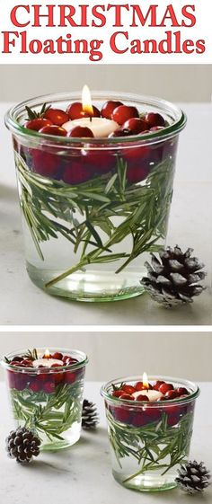 DIY Custom Floating Christmas Arrangements // Fresh Cranberries, Rosemary, Water, Candles in Mini Glass Jars. #holiday #ideas