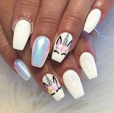 Beautiful unicorn nail art by Source: unicorngalaxycom . - Beautiful unicorn nail art by Source: unicorngalaxycom Art Einhorn I Love - Unicorn Nails Designs, Unicorn Nail Art, Horse Nail Art, White Nail Art, White Nails, Spring Nails, Summer Nails, Crown Nails, Nails For Kids