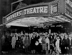 Broadway Theatre 1920s | First-nighters posing for the camera outside the Warners' Theater ...