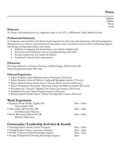 Graduate Nurse Resume In Pdf   Nursing Resume Template  When