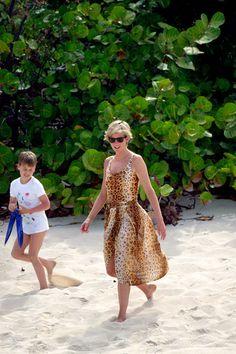 Princess Diana in Necker Island, 1990. See 51 more rare, vintage photos of celebrities enjoying summer.