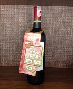 Scrap Spot: PAP / DIY / TUTORIAL Tag para garrafa - ideia para o dia dos pais wine bottle tag - fathers day idea