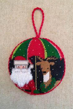 Santa & Reindeer Ornament ~ canvas by nm arts