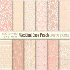 Wedding Lace Digital Paper WEDDING LACE PEACH by DigitalStories, €2.80