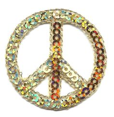 PEACE-SIGN-GOLD-SEQUINS-Iron-On-Embroidered-Applique-Peace-70s-Patriotic