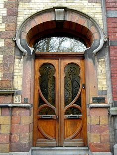 Door from a art-nouveau house in Tournai.