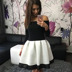 Fashion Off-shoulder Sexy Patchwork Lace Knee-length Dress
