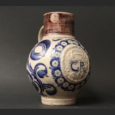 An 18th Century Gres-de-Flandres salt glazed stoneware bulbous wine jar