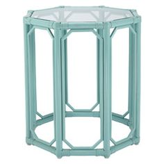 Leather-wrapped rattan end table with a glass top. Product: End tableConstruction Material: Rattan, leather, and glassColor: Blue Features: Leather wrapped rattan Thick inset tempered glass topPerfect accent to any dcor Dimensions: 22 H x W x D Rattan Furniture, Painted Furniture, Home Furniture, Furniture Projects, Painted Wicker, Furniture Update, Dream Furniture, Cottage Furniture, Funky Furniture