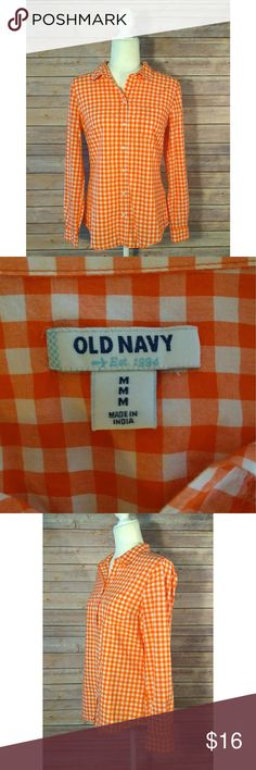 Old Navy orange and white plaid button down shirt Old Navy button down shirt in an orange and white plaid.  It is a long sleeve shirt and has a pocket on the front left side.   Pet free smoke free home. Old Navy Tops Button Down Shirts