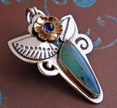 Blue Peruvian Opal and Iolite Sterling Silver and Bronze Pendant