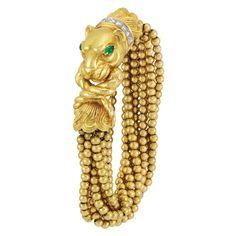 Multistrand Gold Bead, Gold, Platinum, Diamond and Cabochon Emerald Torsade Bracelet, David Webb