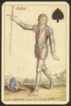 Lionel, enlevant l'épée de Jeanne d'Arc.Valet de pique . Jack spades