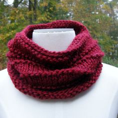wool cowl cranberry red