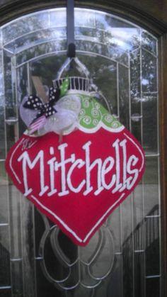 Ornament with swirls burlap hanger