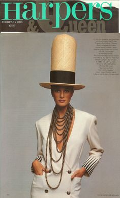 Dinny Hall for Rifat Ozbek Mutli-strand Bronze Bead Necklace featured in Harpers & Queen Magazine, 1993.