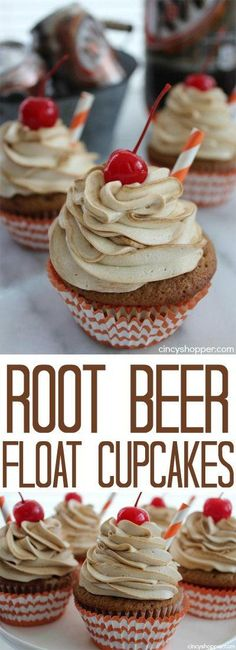 Beer Float Cupcakes- Favorite summertime treat in cupcake form. Root Beer Float Cupcakes- Favorite summertime treat in cupcake form.Root Beer Float Cupcakes- Favorite summertime treat in cupcake form. Brownie Desserts, Oreo Dessert, Great Desserts, Summer Desserts, Dessert Recipes, Bbq Desserts, Desserts For Birthdays, Dessert For Bbq, Chocolate Cupcake Recipes