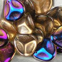 Czech glass rose petals in Crystal Sliperit, 14mm x 13mm. Petal-shaped drop beads, part transparent crystal, part iridescent purple, pink and blue. UK seller.