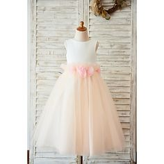 2017 A-line Tea-length Flower Girl Dress - Satin   Tulle Sleeveless Jewel 56c7adb7d572