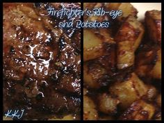 Firefighter's Rib-Eye Steak and Potatoes  Rib-eye Steak Instructions: Marinate Rib-eyes with Minced onions, minced garlic, and Allegro Marinate Seasoning (Let it sit for at least 30 minutes) Grill steaks, rotating once to create grill marks, until well-browned on the outside and cooked to desired doneness, 4-5 minutes per side on a charcoal grill for medium-rare (125-130 degrees). For a great juicy steak, do not overcook!  Oven Potatoes Instructions: