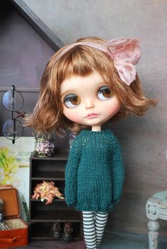 Handmade SWEATER for BLYTHE doll hand knit licca takara