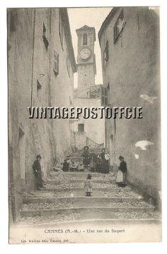 Cannes vintage postcard Une rue du Suquet door vintagepostoffice