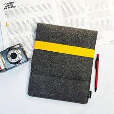 Felt iPad case iPad bag iPad case iPad cover iPad Sleeve  Elastic Strip Handmade Felt iPad Cover :E1146-MGra01ylw. $23.00, via Etsy.