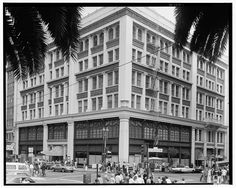 """City of Paris Dry Goods Company, Geary & Stockton Streets, San Francisco (ca. 1970) Felix Verdier arrived in San Francisco Harbor in 1850 on a chartered ship, the """"Ville de Paris"""", loaded with silks, laces, fine wines, Cognac, etc. San Franciscans quickly surrounded the ship with rowboats and purchased his goods without them ever being unloaded from the ship. Verdier soon opened a small waterfront store on Kearney Street, followed by a Beaux-Arts building in 1896 on Union Square."""