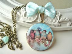 Bird king love love locket necklace pastel blue by DinaFragola