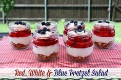 Mommy's Kitchen - Home Cooking & Family Friendly Recipes: Patriotic Dessert: Red, White & Blue Pretzel Salad
