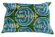 Ikat 14x24 Silk Pillow, Blue/Olive Green Orientalist Home