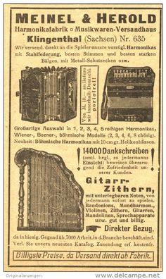Original-Werbung/ Anzeige 1919 : MUSIK - INSTRUMENTE MEINEL & HEROLD KLINGENTHAL - ca. 75 x 115 mm