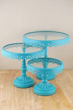 Cake Stands Turquoise (Set of 3)