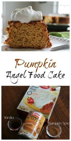 Pumpkin Angel Food Cake recipe on Having Fun Saving and Cooking. Brownie Desserts, Oreo Dessert, Mini Desserts, Pumpkin Dessert, Fall Desserts, Delicious Desserts, Yummy Food, Pumpkin Pumpkin, Pumpkin Cookies