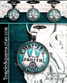 Jewelry Relief Society Emblem Pendant Necklace LDS Charity Never Faileth Presidency, Missionary, Birthday, or Visiting Teaching Gift Turqois by templesquares on Etsy