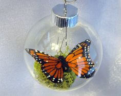Butterfly Christmas Ornament - Monarch Captive Inside Clear Glass World Ornament - HOLIDAY SALE