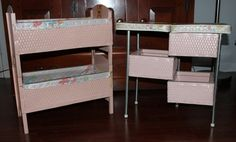 Vintage / Antique Doll Furniture L@@k - 2 Bunk Beds And A Changing Table Htf