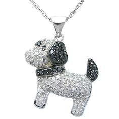 Too Cute! Sterling Silver 0.50ctw Diamond Heart Pendant with Free 17″ Omega Necklace