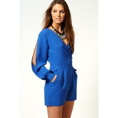 Boohoo Olivia Split Sleeve Cross Over Front Playsuit (€31) ❤ liked on Polyvore featuring jumpsuits, rompers, cobalt, v neck romper, high waisted romper, plunge romper, playsuit romper and blue romper