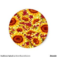 Sunflower Splash Classic Round Sticker http://www.zazzle.com/sunflower_splash_classic_round_sticker-217093573765269738?design.areas=%5Bsticker_round_small_front%5D&CMPN=shareicon&lang=en&social=true&view=113228992575404873&rf=238588924226571373