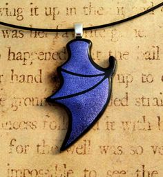 Shadow Dragon Wing  Fused Glass Pendant Purple by fusedelegance, $30.00