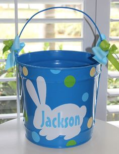 Easter Bucket Personalized 10 Quart by GameDayGirlsandGifts, $28.00