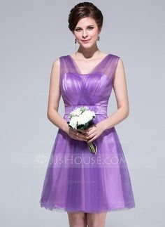 Bridesmaid Dresses - $89.99 - A-Line/Princess V-neck Knee-Length Tulle Charmeuse Bridesmaid Dress With Ruffle (007037279) http://jjshouse.com/A-Line-Princess-V-Neck-Knee-Length-Tulle-Charmeuse-Bridesmaid-Dress-With-Ruffle-007037279-g37279